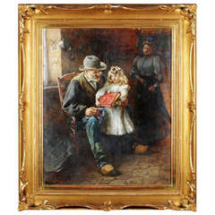 Interior, grandfather and child. Oil on canvas, unidentified artist. 1920s.