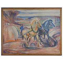 """Edvard Munch (1863-1944) """"Spring Ploughing"""" Blueprint, No. 834, Limited Edition"""