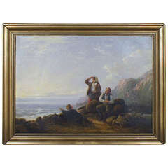 William I Shayer, Rocky Coast with Seashell Gatherers and Their Baskets