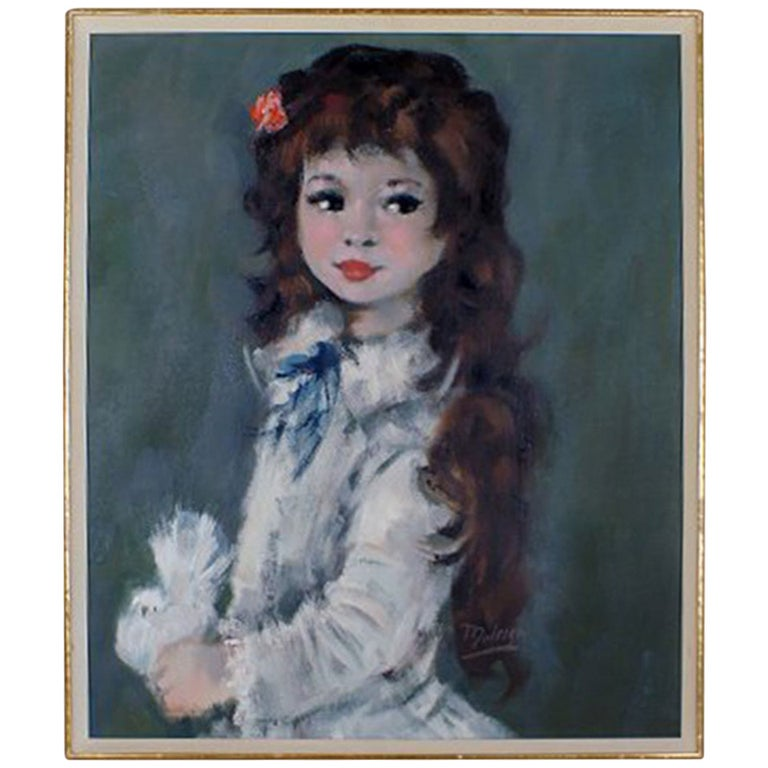 Oil Painting on Canvas, Portrait of a Girl with Long Hair For Sale