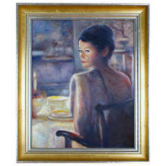 Oil Painting on Panel, Unsigned, Portrait of Actress Catherine Zeta Jones