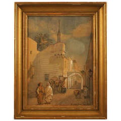 Antique Watercolor, Oriental Street Scene from Tripoli with People and Camels
