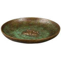Tinos Bronze Dish of Massive Patinated Genuine Bronze, Made in Denmark, 1930s