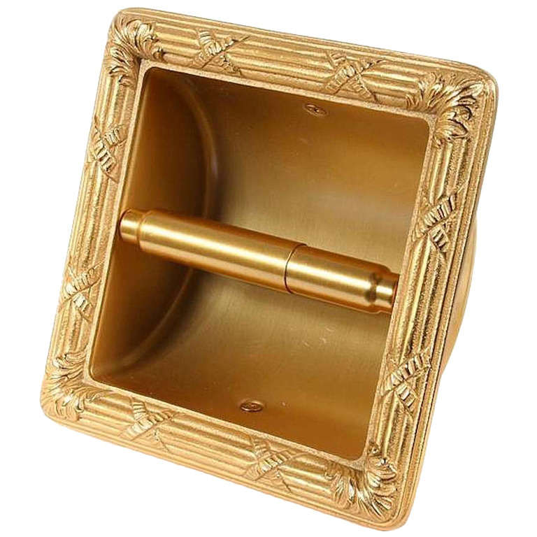 Sherle Wagner 22 Karat Gold Plated Toilet Tissue Wall Recessed Holder With Cover For