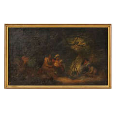 Oil on Canvas, 19th Century Unknown Artist, Fireplace with Women and Children