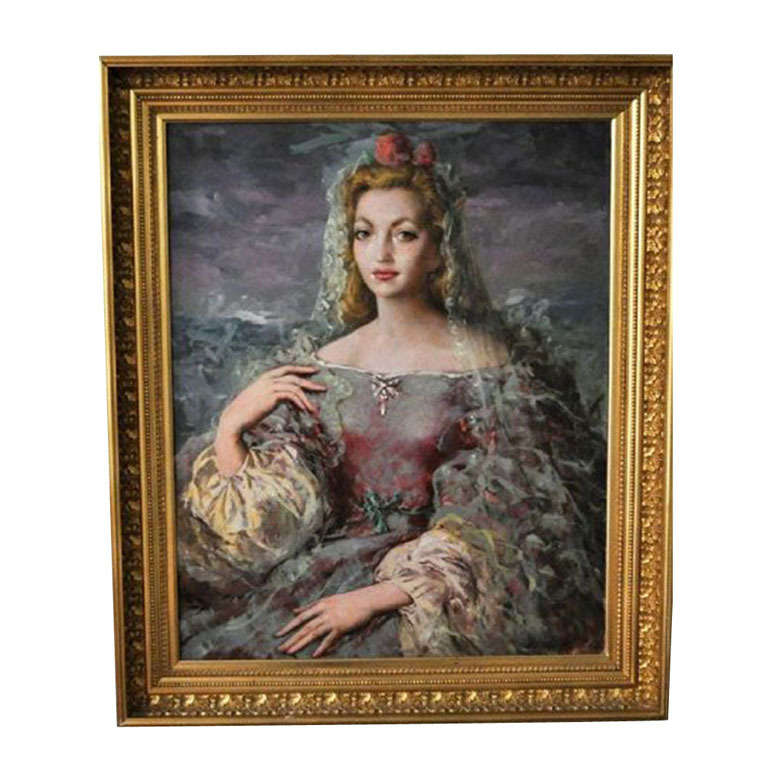Enrique Ochoa, Portrait of a Young Lady with a Veil in a Beautiful Dress, Signed