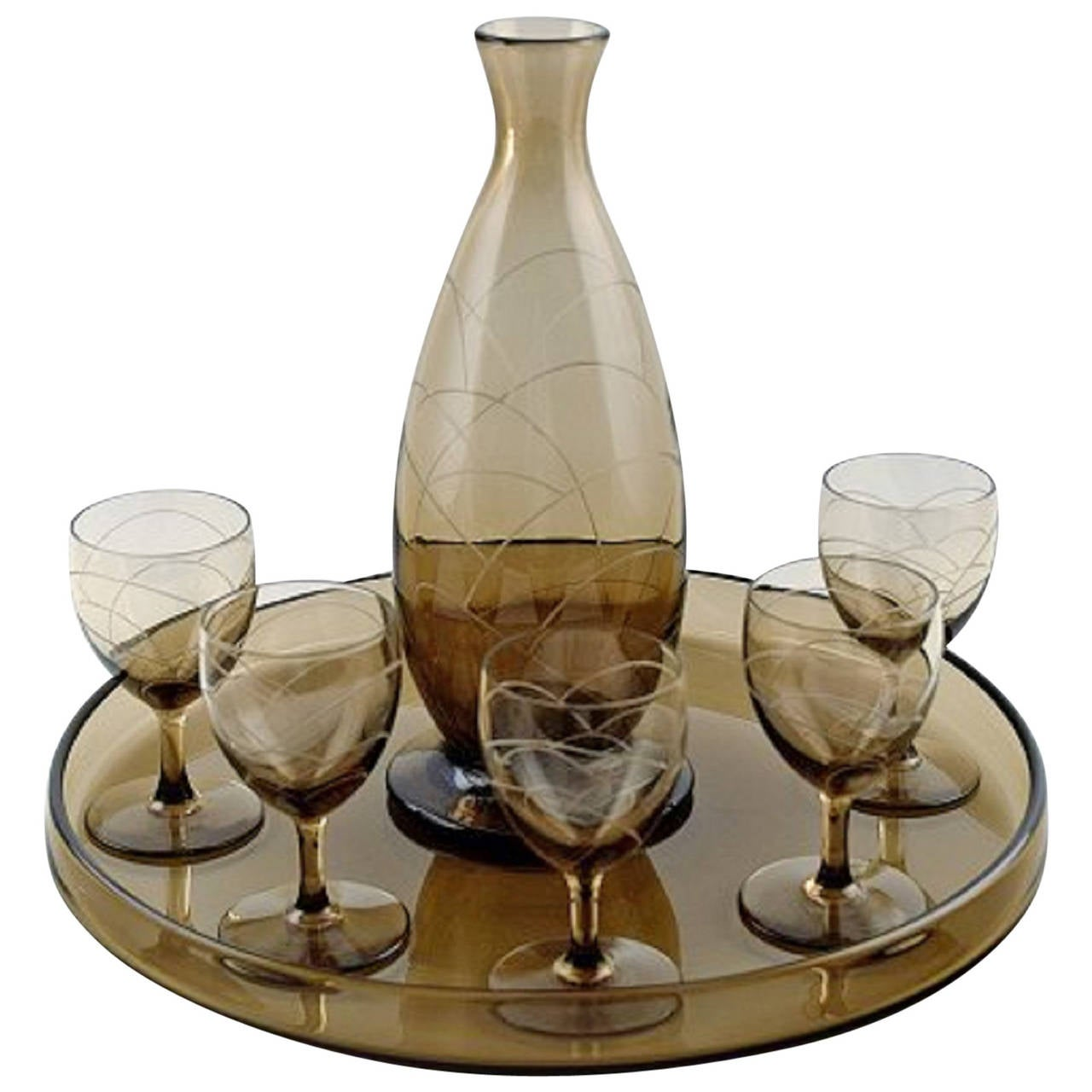 Daum Nancy Art Deco Bar Set Decanter And Five Gles On Tray For