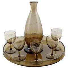 Daum Nancy Art Deco Bar Set, Decanter and Five Glasses on Tray