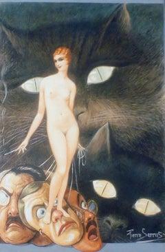 Pierre Serrus, mixed media. Nude woman, art deco.
