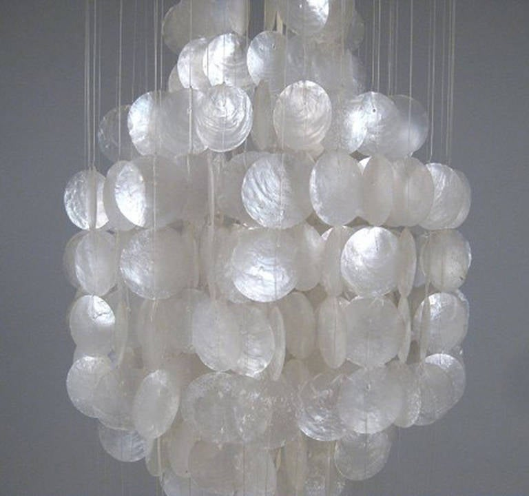 seashell pendant lamp with mother of pearl flakes for sale. Black Bedroom Furniture Sets. Home Design Ideas