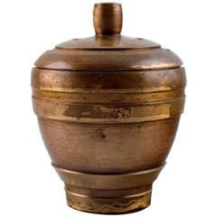 Cawa Art Deco Lidded Bronze Jar, circa 1940