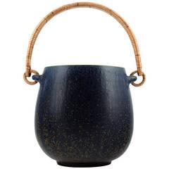 Arne Bang Ice Bucket in Stoneware, Decorated with Bluish Glaze