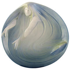 Rare Royal Copenhagen, Art Nouveau Dish Decorated with Mermaid and Fish