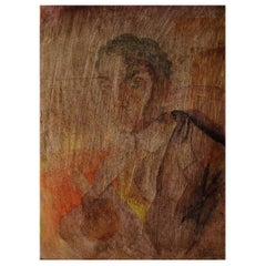 Art Deco Portrait of a Man, Watercolor on Paper Pasted on a Wooden Board