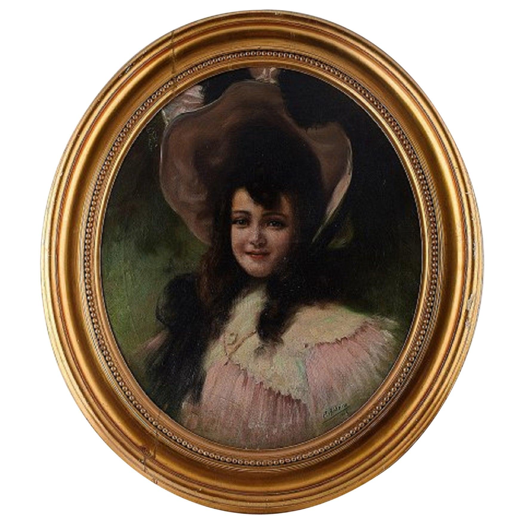 Pedro Ribera Portrait of a Girl, Oil on Canvas