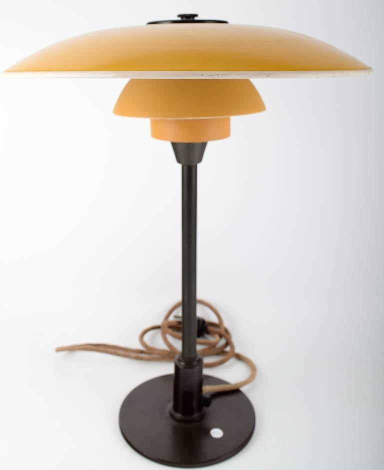 poul henningsen ph 3 5 2 table lamp with rod of burnished brass at 1stdibs. Black Bedroom Furniture Sets. Home Design Ideas