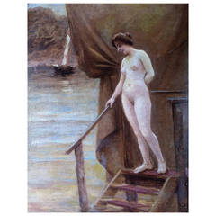 Christian Valdemar Clausen, Nude Woman at a Wooden Pier