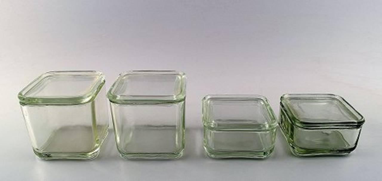 wilhelm wagenfeld bauhaus kubus six modular boxes in pressed gla. Black Bedroom Furniture Sets. Home Design Ideas