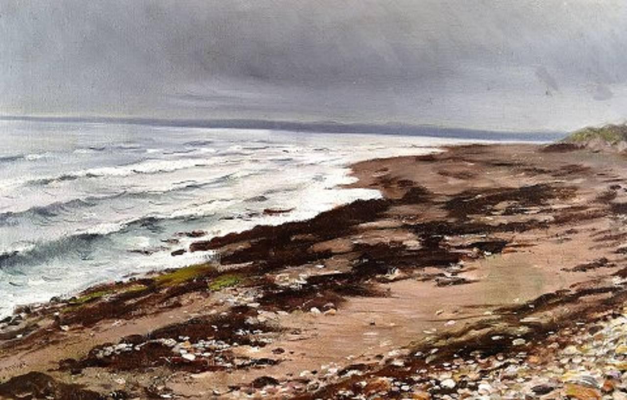 Danish William Jacob Rosenstand, Hornbak beach, Denmark, Oil on Canvas For Sale