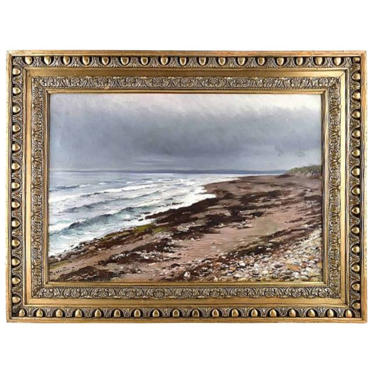 William Jacob Rosenstand, Hornbak beach, Denmark, Oil on Canvas For Sale