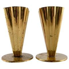 Pair of Brass Vases, Ystad Metal