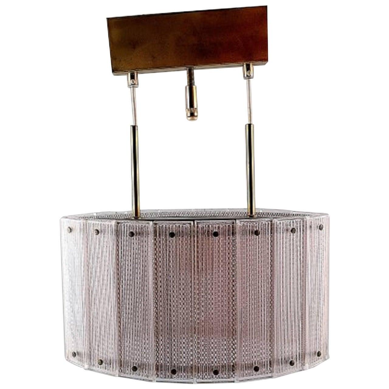 Swedish Ceiling Lamp, Art Glass