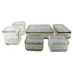 "Wilhelm Wagenfeld Bauhaus, ""Kubus"" Six Modular Boxes in Pressed Glass"