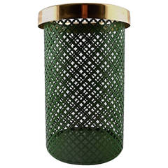 Josef Frank Wastebasket in Green Metal with Brass Top