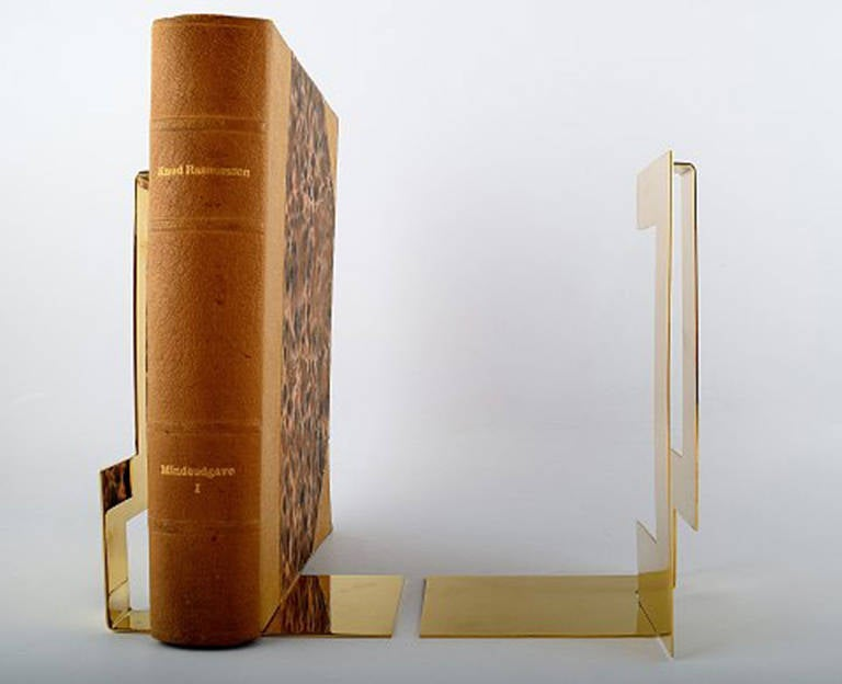 Swedish Pair of Polished Brass Bookends Designed by Folkform for Skultuna For Sale