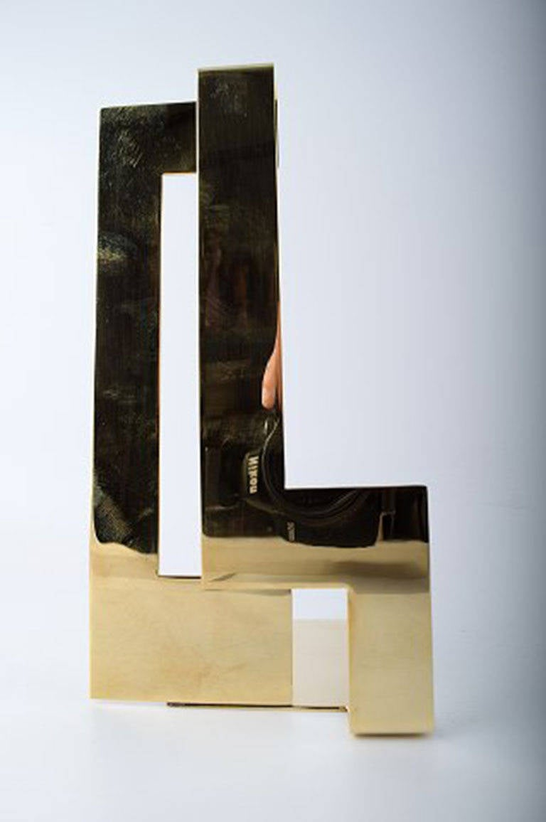 Contemporary Pair of Polished Brass Bookends Designed by Folkform for Skultuna For Sale