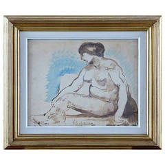 Lagar Celso Painting of Seated Model, Watercolor, Signed