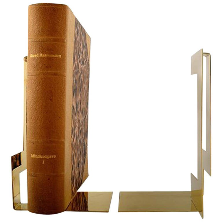 Pair of bookends, designed by Folkform for Skultuna. Polished brass.