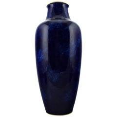Large Sevres Vase in Porcelain with Blue Glaze and Gold Rim