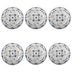 Six Royal Copenhagen, Blue Fluted Full Lace Dinner Plates