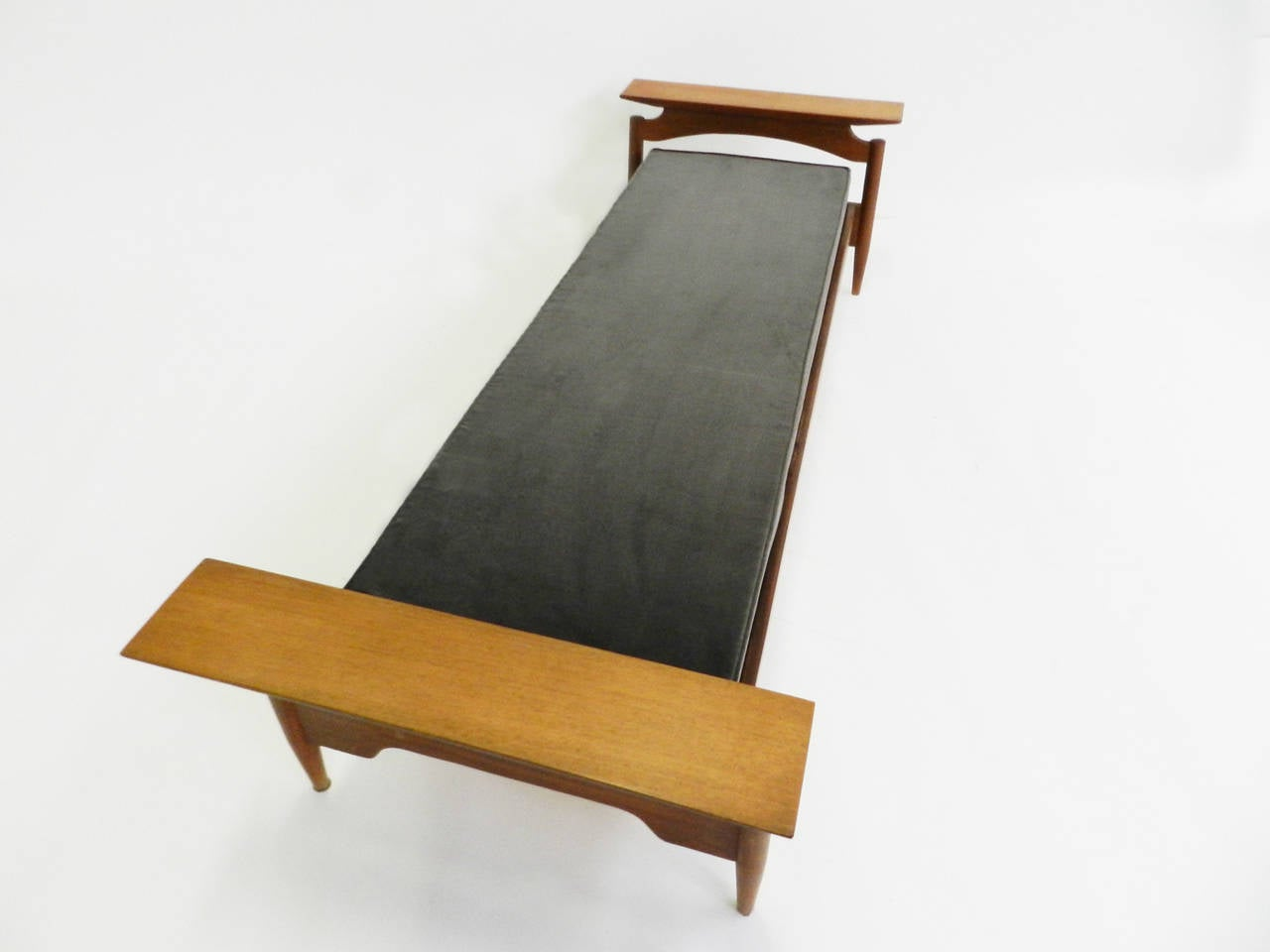 Bench Or Small Day Bed In Mud Gray Velvet And Teak At 1stdibs