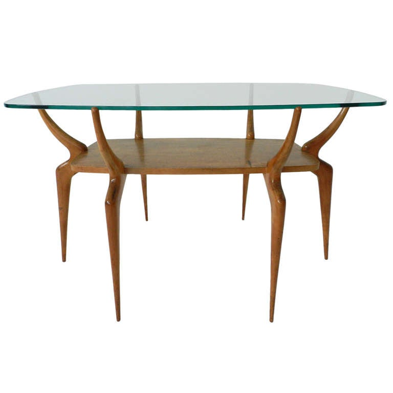 Elegant Italian Coffee Table in the Style of Ico Parisi at 1stdibs