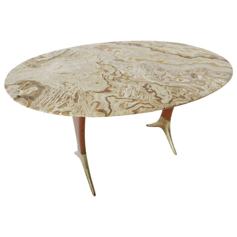 Elegant Italian Coffee Table In Brass And Onyx At 1stdibs
