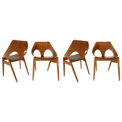 4 Carl Jacobs Plywood Chairs, Modern