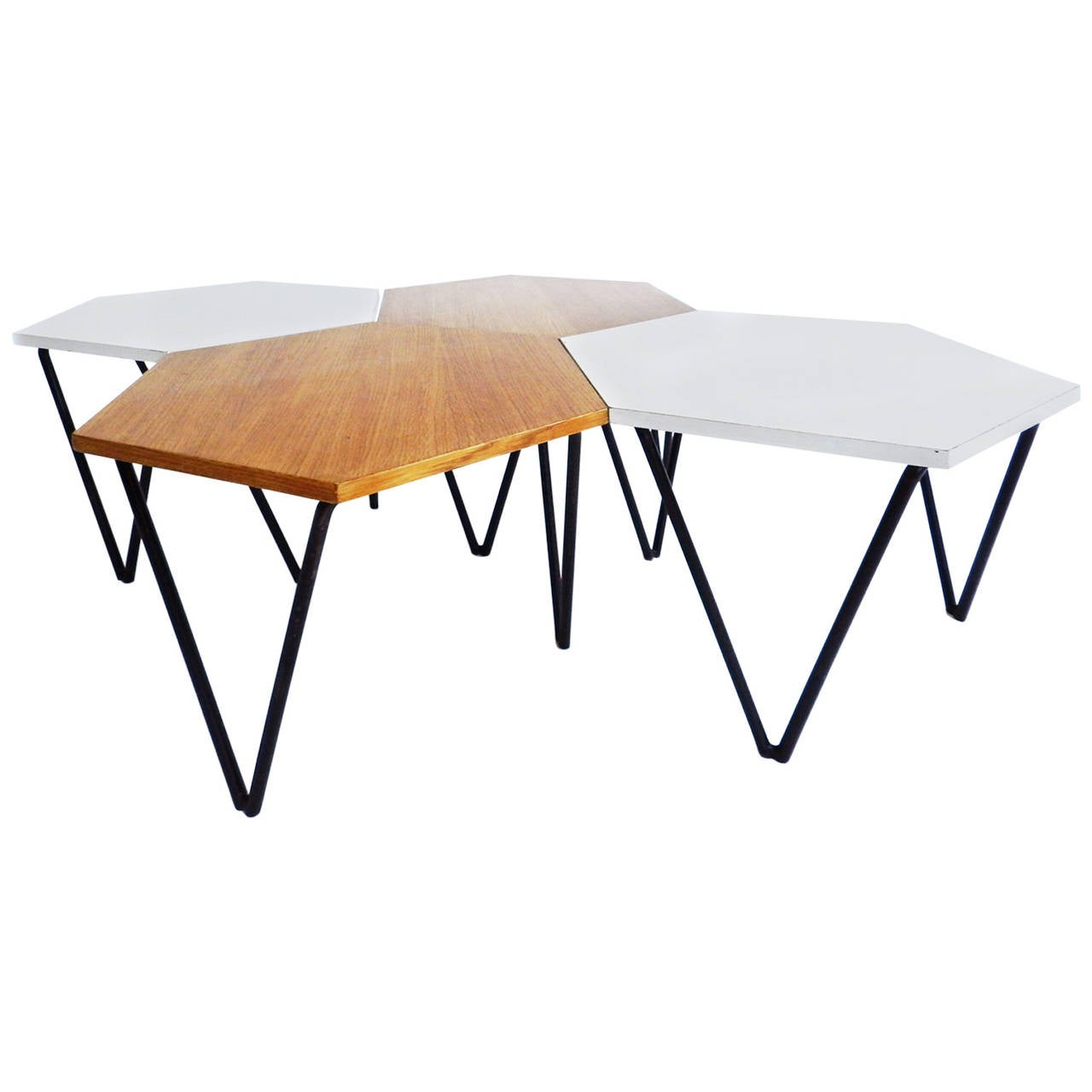 Set Of 4 Gio Ponti Laminated And Wood Modular Coffee Tables For Isa At 1stdibs