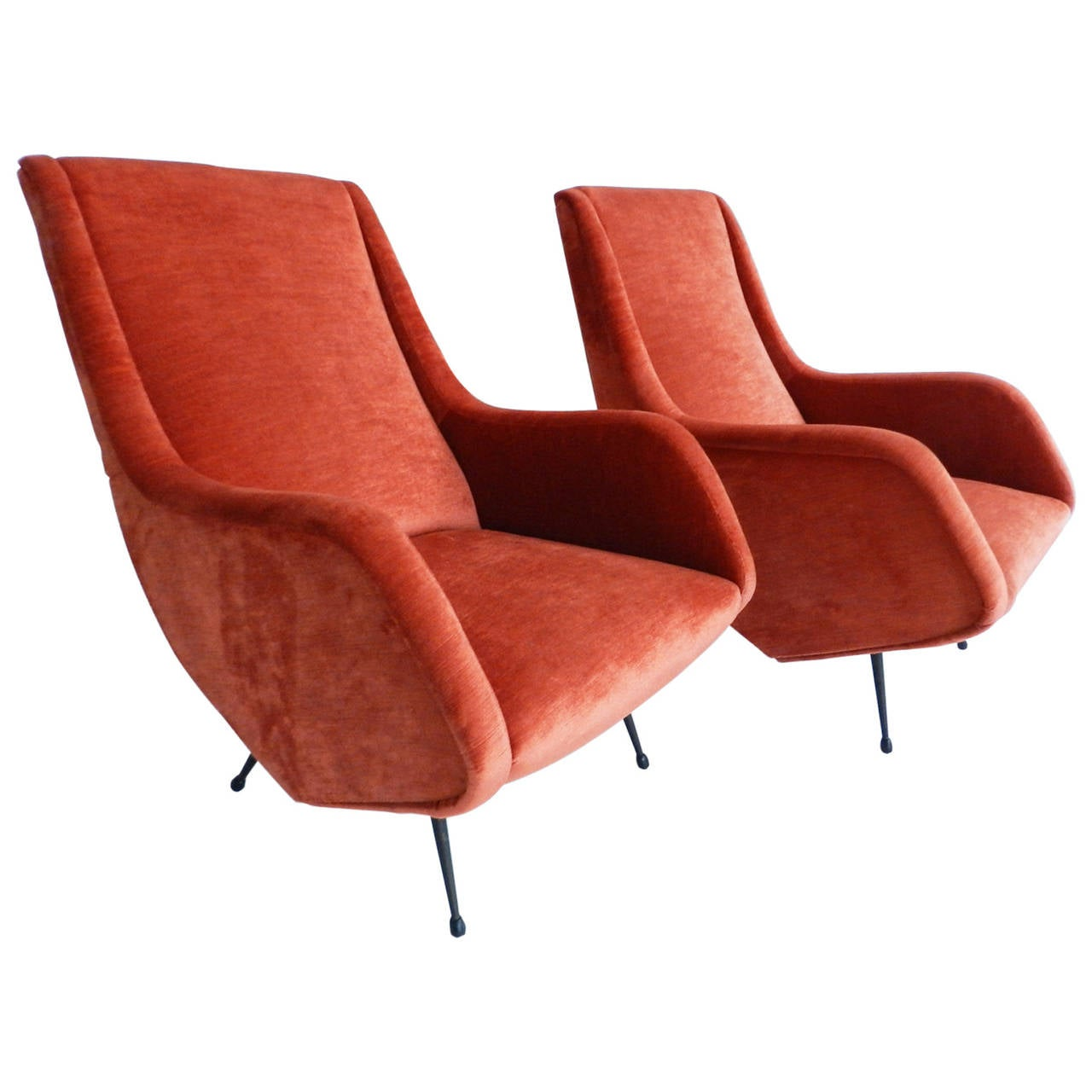 Two armchairs designed by aldo morbelli edited by isa for Isa arredamenti