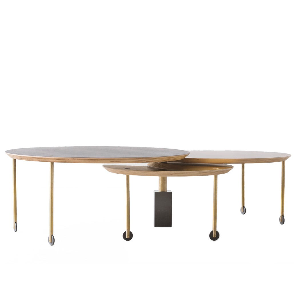 Limited Edition Coffee Table with Three Sliding Tops by Veruska Gennari