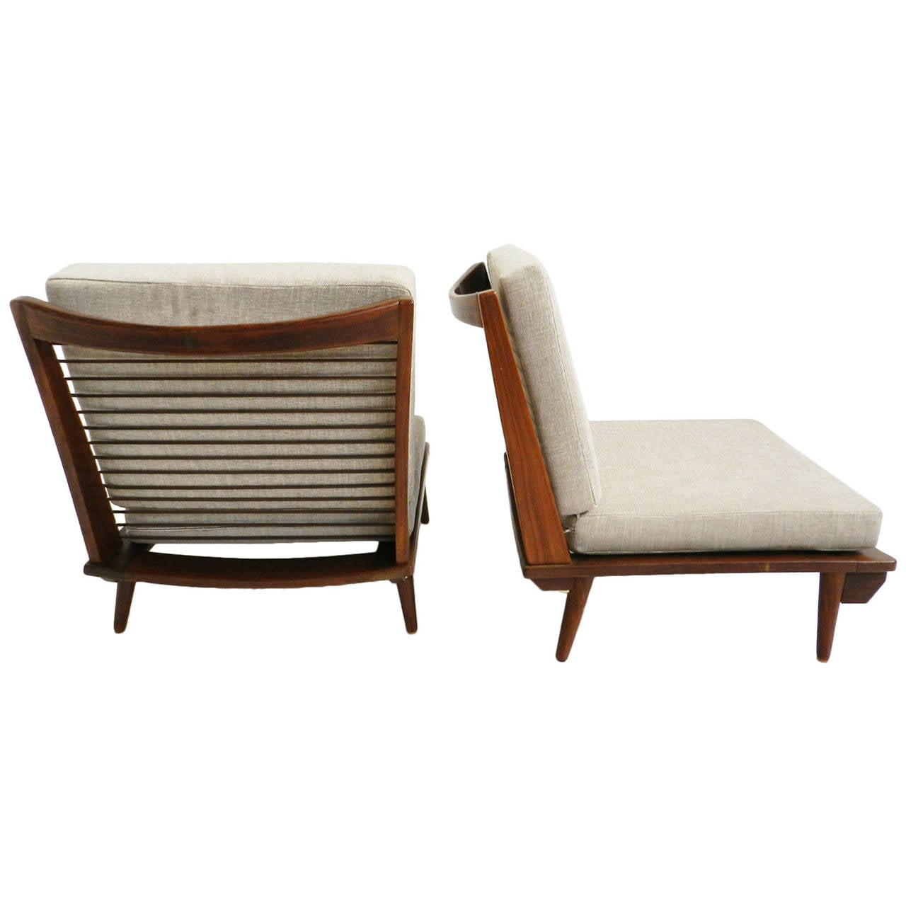 Minimal low lounge chairs in Japanese style at 1stdibs