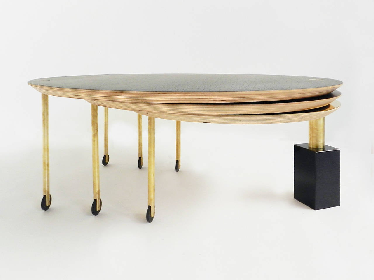 Extendable rolling coffee table model sfg13 limited edition of five at 1stdibs - Telescopic coffee table ...