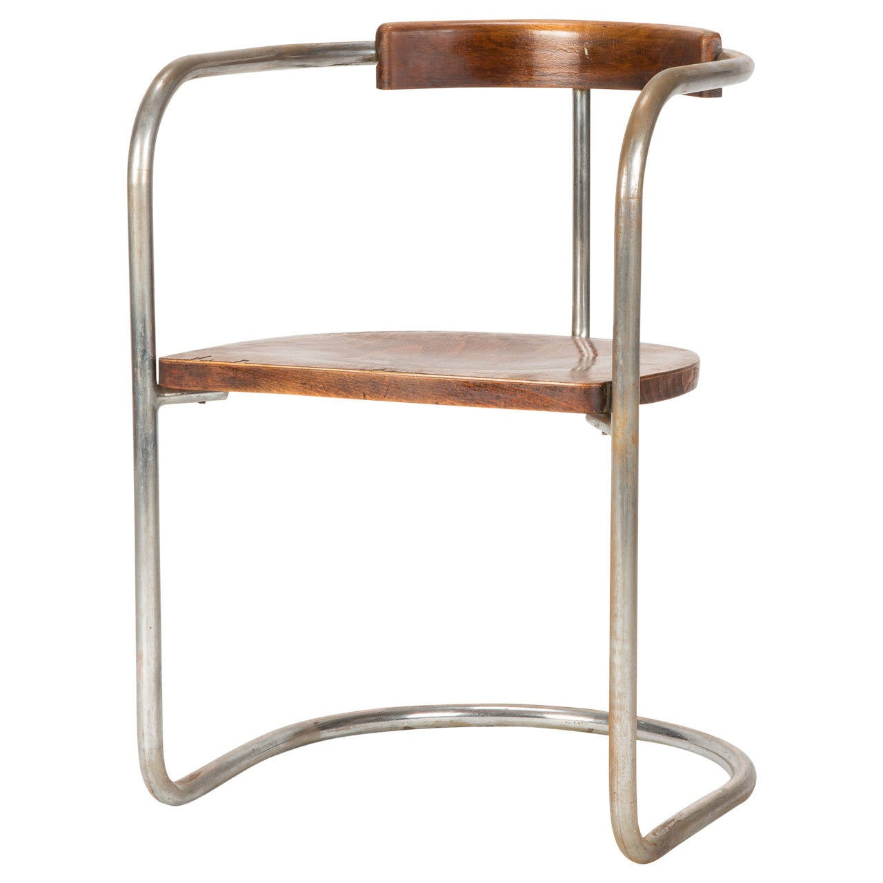 Antique Bauhaus Steel Tube Cantilever Chair Italy 1930s