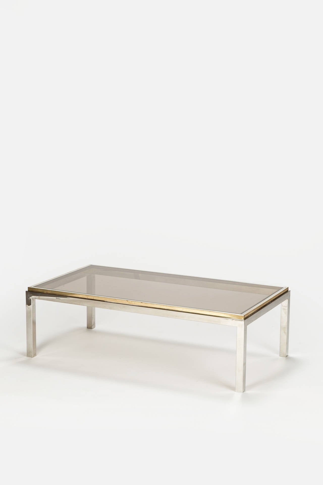 Flaminia Coffee Table Chrome Brass Smoked Glass by Willy Rizzo at
