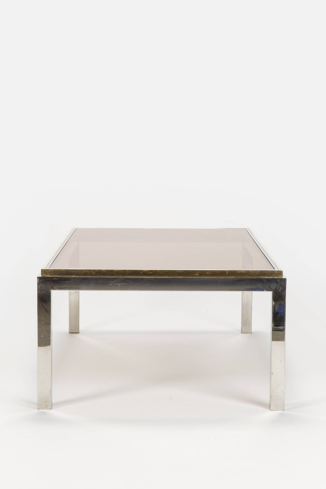 Flaminia Coffee Table Chrome Brass Smoked Glass By Willy Rizzo At 1stdibs