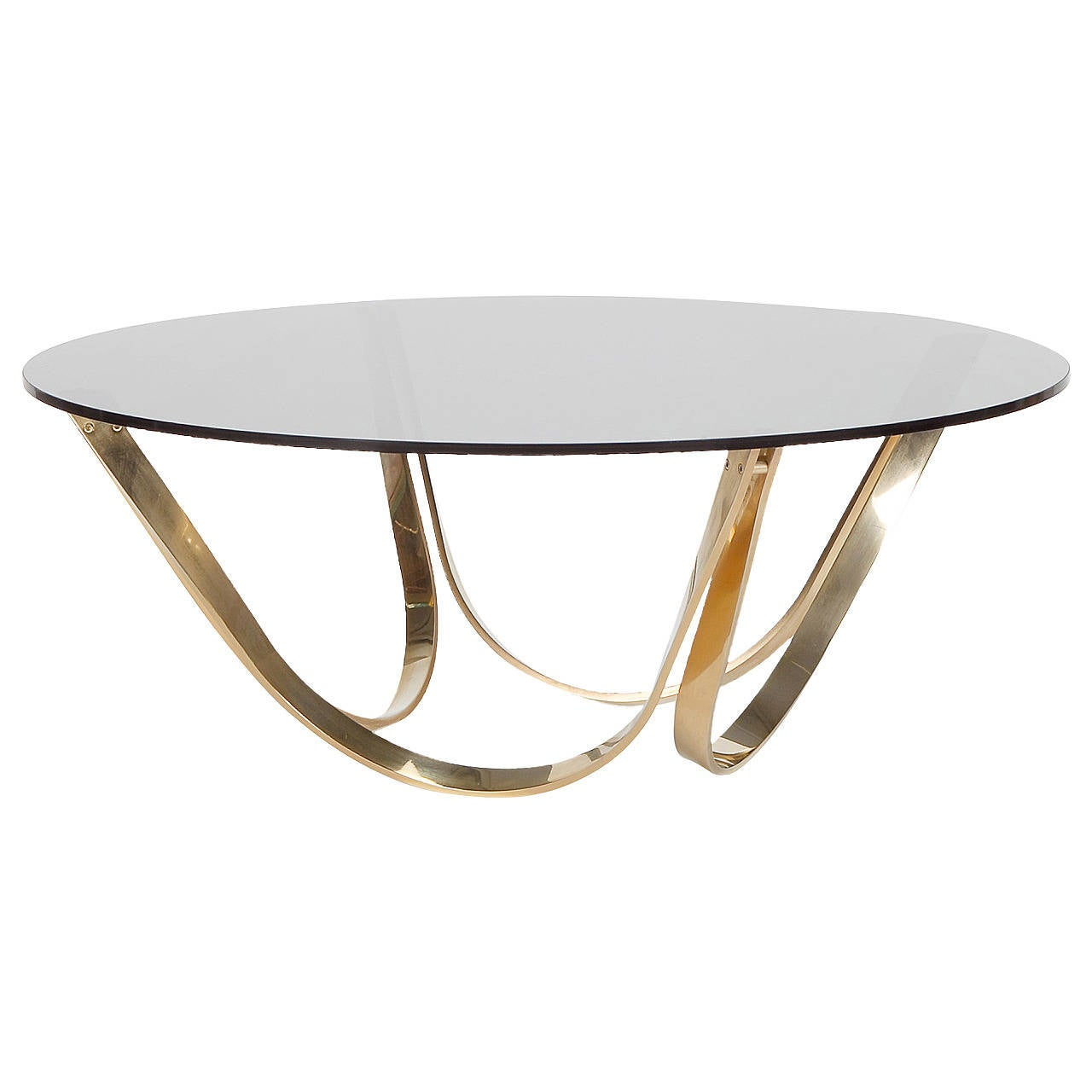 Brass And Smoked Glass Coffee Table By Roger Sprunger For