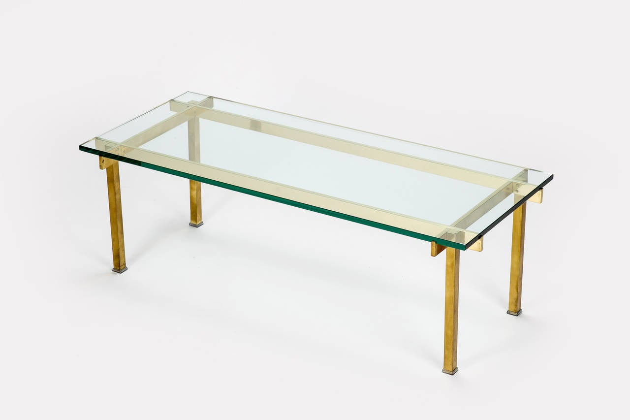 French Coffee Table Solid Brass Glass High End At 1stdibs