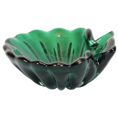 Green Gold Italian Murano Shell Bowl in the style of Barovier & Toso, 1960s