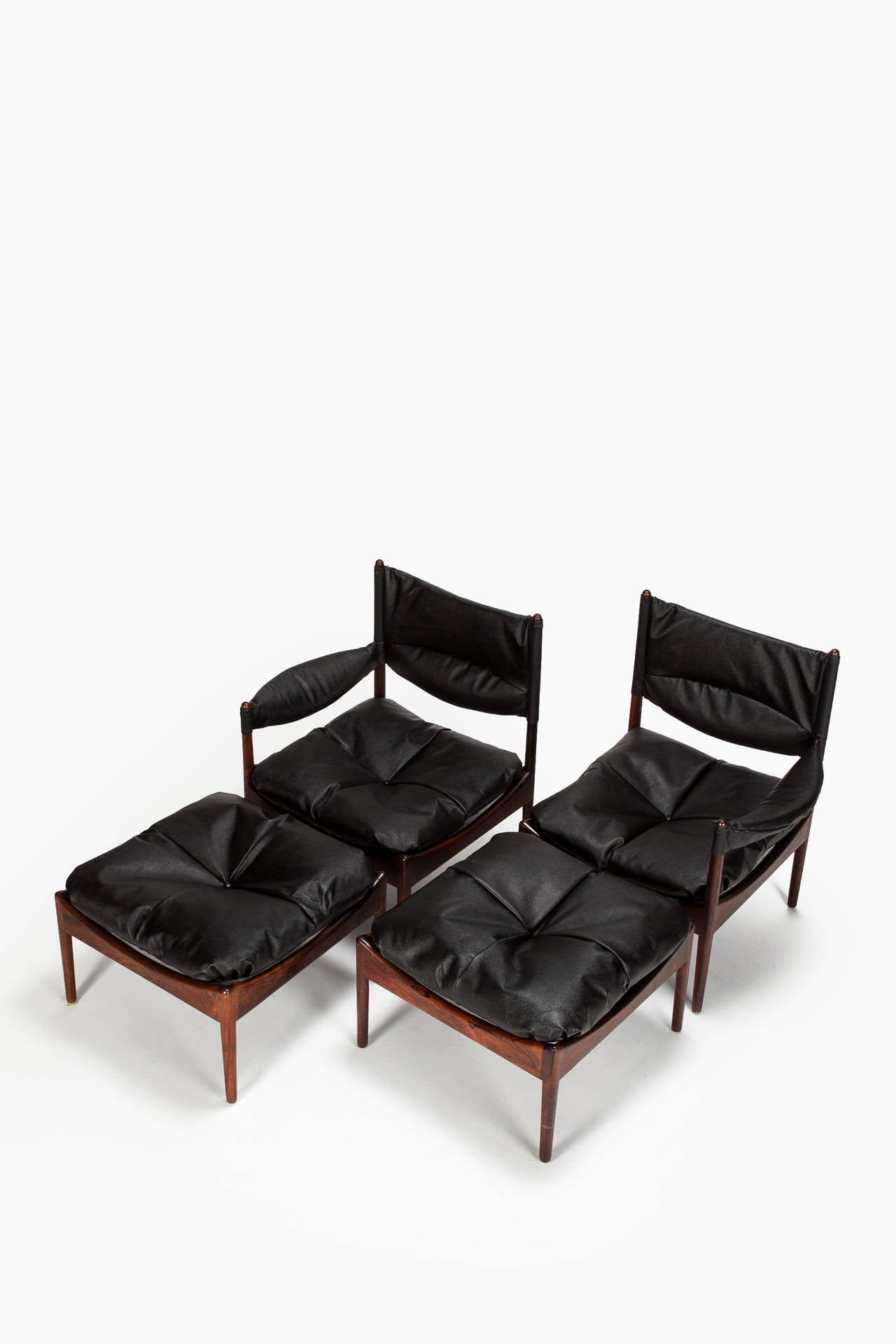 Pair of vintage danish rosewood and brushed steel side cabinets ref - Danish Rosewood Modus Lounge Chair Set By Kristian Solmer Vedel 1960s 2